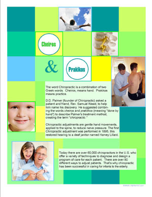 MyMarKit7 Patient Education Flyer - The Meaning of Chiropractic - Green